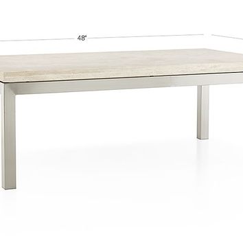 Parsons Small Rectangular Stainless Steel Coffee Table with Travertine Top