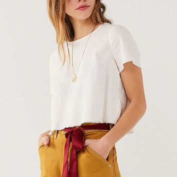 UO Cropped Linen Tee | Urban Outfitters