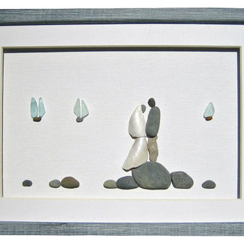 Wedding or engagement gift for couple, Beach stones, shells and genuine sea glass framed wall decor, Nautical theme wedding pebble art