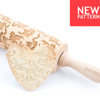 Dragon - Embossed, engraved rolling pin for cookies