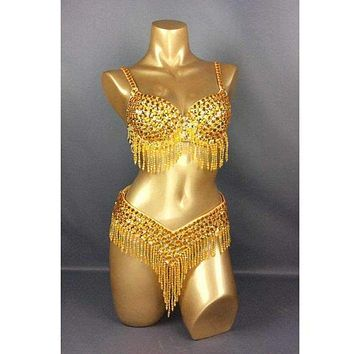 FREE SHIPPING hand make Carnivel Samba costume  Gold bra belt 2pcs Macchar Cosplay Catalogue