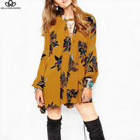 2016 spring summer new casual long-sleeved V-neck floral print  yellow blue women  mini dress real photo
