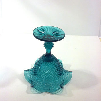 Unique Teal Compote, Ruffled Turquoise Vintage Glass Pedestal Dish, Blue Candy Dish, Wedding Candy Bar Dish, Gorgeous Color Aqua, Blue Green