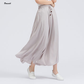 13 Colors Selected Pleated Skirt Casual Soild Long Skirt One Size Skirts Womens Elastic Waist Slim Elegant DW074