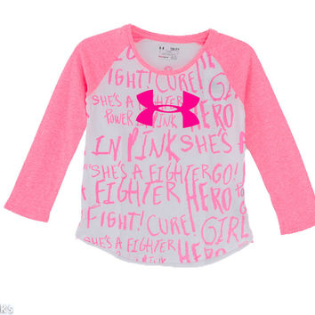 Under Armour Power in Pink Long Sleeve Shirt for Girls 1259886-101
