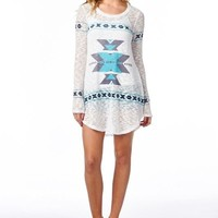 Cover Me In Aztec Long Sleeve Tunic Top (Light Blue)
