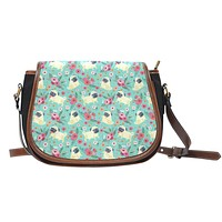 Pug Flower Saddle Bag