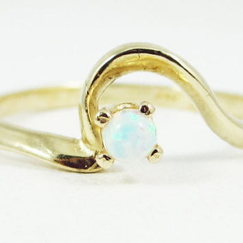 Opal Ring 14k Yellow Gold, October Birthstone Ring, White Opal Ring, Engagement Ring, 14k Yellow Gold Ring, Solid Yellow Gold Ring