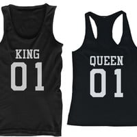 King 01 Queen 01 Couple Tank Top Set Matching Tanks Summer Vacation Sleeveless Shirts