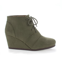 Rex Khaki Green Pu By Soda, lace up oxford ankle bootie round toe high hidden wedge heel Women shoe