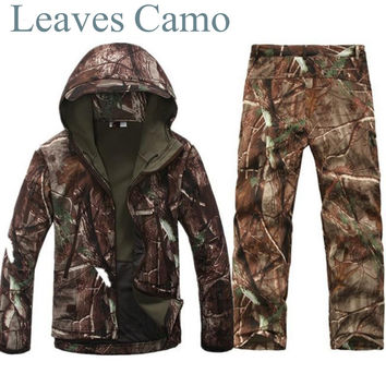 Tactical Gear Shark Skin Softshell Outdoor Jacket& Military Pants Men Waterproof Army Camouflage Hoody Hunting Hiking Clothing