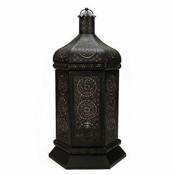 "21.5"" Black and Gold Moroccan Style Floral Cut-Out Table Lantern Lamp"