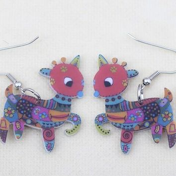 1 pair sheep cute lovely printing drop earrings acrylic new design spring/summer style for girls woman jewelry