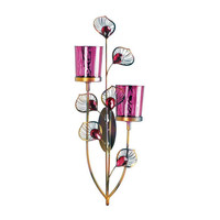 Dramatic Pink Peacock Wall Sconce Candle Holder