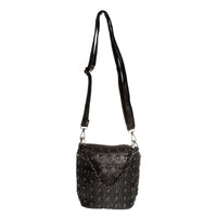 BLUE BANANA SKULL STUDDED SHOULDER BAG (BLACK)