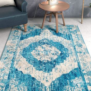 6946 Blue Vintage Distressed Oriental Area Rugs