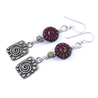 Handmade Spiral Charm Earrings Silver Czech Red Picasso Bead Dangle