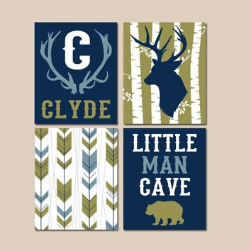 Baby Boy Deer Decor, Little Man Cave, WOODLAND NURSERY Wall Art, Canvas or Prints, Arrows Deer Bear Antlers Birch Tree, Set of 4 Wall Decor