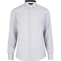 River Island MensGrey check cut away collar shirt