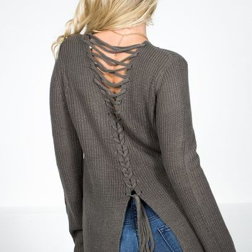 Back Trip Lace Grey Sweater
