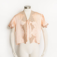 Vintage 1930s Bed Jacket - Peach Rayon + Lace 30s Lounge Lingerie  - Small / Medium