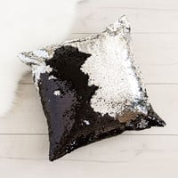 Midnight Silver Reversible Magic Sequin Pillow with Insert
