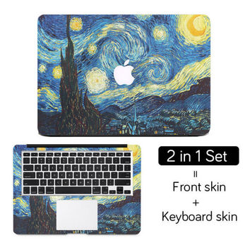 "Starry Night  Van Gogh Top+Wrist Full Cover Skin Laptop Sticker for MacBook Air Pro Retina 11"" 12"" 13"" 15"" Notebook Decal Skin"