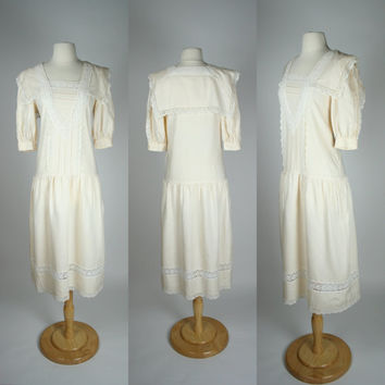 1980's white linen dress Jessica McClintock sailor nautical collar short sleeves drop waist long skirt country peasant style X small size 4