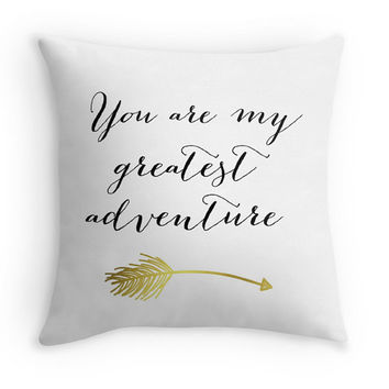 You Are My Greatest Adventure Decorative Pillow Cover with Quote, Typography Statement Pillow, Black/White, Nursery
