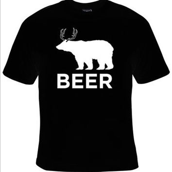 BEER Bear and Deer Drinking T-Shirt Men's