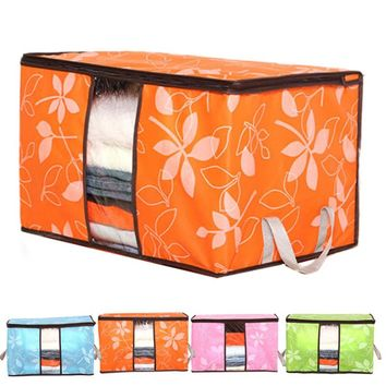 Clothes Storage Organization/Designer Flower Printed Foldable Quilt Sorting Anti-bacterial Clothing Organizer 60*40*35cm