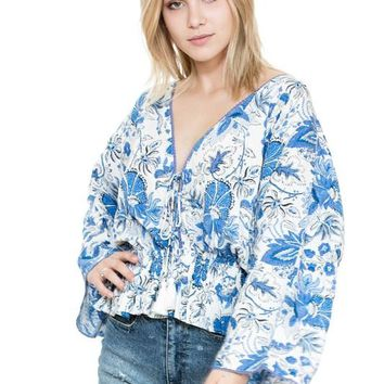Long Sleeve Tropical Blue Floral Top - White/Blue