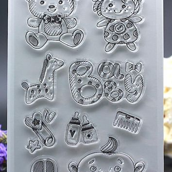 CLEAR STAMPS DIY Scrapbook Card album paper craft  silicon rubber roller transparent stamp baby born bear doll  feeding 11x16cm
