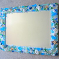 beach decor, beach, nautical, seashell mirror, shell frame, sea glass, seashells
