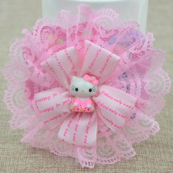 Hot Sale Cute Kids Hello Kitty Princess Hair Clips Lace Flower Bowknot Hairpins Ribbon Grid Yarn Hair Accessories Barrettes