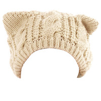 Beige Cat Ears Knit Beanie Hat
