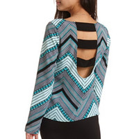 SPLIT BACK PRINT TUNIC TOP