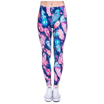New 3D Print Women Leggings Shiny Feathers Jeggings Elastic Sexy Leggins Tayt  Fitness Legging Calzas Mujer Fresh Legins Girls