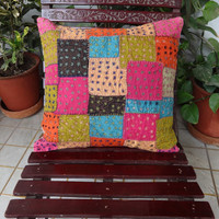 Set of 5 Patch Work Cushion Cover, Outdoor Cushion, Traditional Cushion Cover, 40 x 40 Cms, Hand Embroidery Pillow Cover, Multicolor Patches