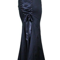 Gothic Long Fishtail Black Corset Skirt