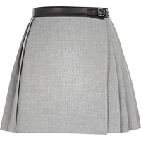 River Island Womens Grey pleated buckle skirt
