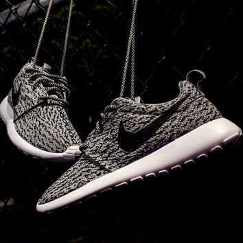 Nike Roshe Mens Grey with Custom Yeezy 350 Boost Inspired Design