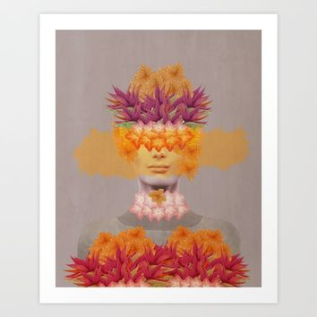 Woman in flowers IV Art Print by vivianagonzlez