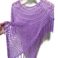 Purple Fringed Poncho Sweater, Vintage Poncho Purple Woven Poncho Fringed Purple Sweater Poncho, Fringe Purple Poncho Vintage Fringed Shawl