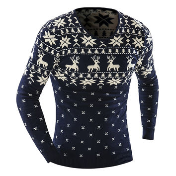 Men's Animal Pattern 2016 Fashion Brand pull homme Cashmere Wool Pullover christmas sweater men Dress Knitted Sweater