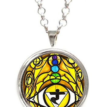 Third Chakra Opening Eye Intuition Silver Pendant with Chain Necklace