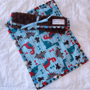 Dinosaur Burp Cloth Set of 2 in blue print and brown Minky