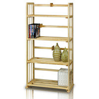 Furinno Pine Solid Wood 4-Tier Bookshelf, Natural
