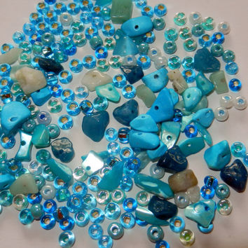 Pacific Blue Czech Glass and Stone Chip Beads