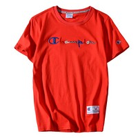 Champion Fashion New Multicolor Embroidery Letter Women Men Leisure Top T-Shirt Red